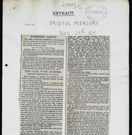 BRISTOL MERCURY 25 NOV 1891 Page 1 smaller